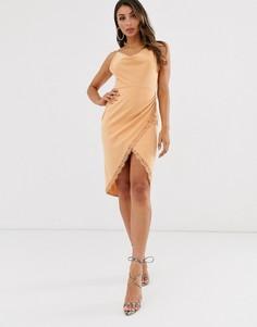 Бежевое платье миди с запахом и свободным вырезом Laced In Love-Бежевый