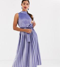 Бархатное платье миди с плиссировкой и высоким воротником эксклюзивно для ASOS DESIGN Tall-Мульти