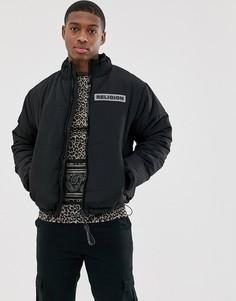 Черная дутая куртка с карманами Religion-Черный