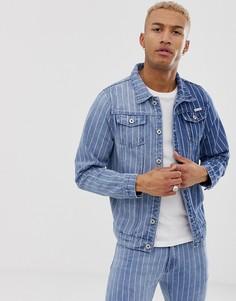 Приталенная джинсовая куртка в двухцветную полоску Liquor N Poker-Синий