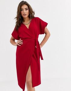 Платье миди с запахом ASOS DESIGN-Красный