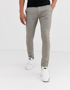 Облегающие строгие брюки в классическую клетку коричневого цвета Topman-Коричневый