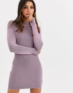 Сиреневое вязаное платье Missguided-Фиолетовый