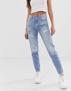 Укороченные джинсы с завышенной талией с бахромой G-Star 3301-Синий