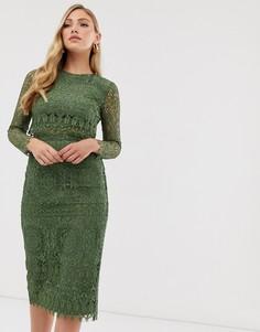 Кружевное платье-футляр миди с длинными рукавами ASOS DESIGN-Красный