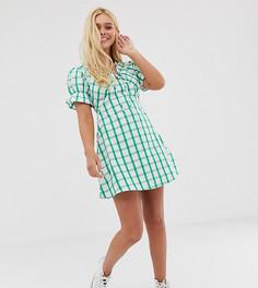 Чайное платье мини в клетку с завязкой Wednesdays Girl-Зеленый