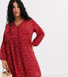 Свободное платье с пуговицами и принтом сердец Wednesdays Girl Curve-Красный