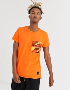 Оранжевая футболка с камуфляжным карманом Sixth June-Оранжевый