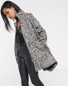 Oversize-куртка с леопардовым принтом Religion-Серый