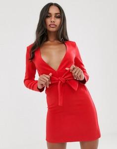 Красное приталенное платье-смокинг с поясом Vesper-Красный