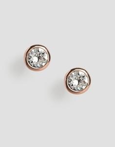 Серьги-гвоздики цвета розового золота с кристаллами Swarovski Ted Baker Sinaa-Золотой
