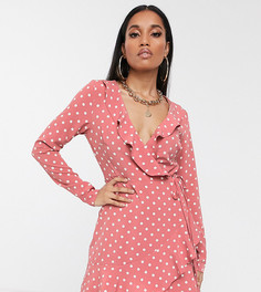 Розовое чайное платье в горошек с запахом и длинными рукавами Missguided Petite-Розовый