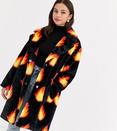 Пальто из искусственного меха с принтом Daisy Street-Черный
