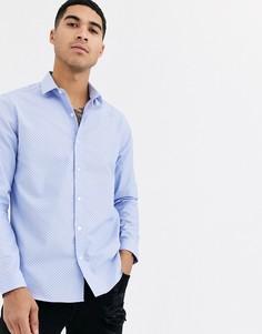 Голубая рубашка в горошек Topman-Синий