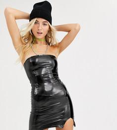 Черное блестящее платье-бандо мини COLLUSION-Черный