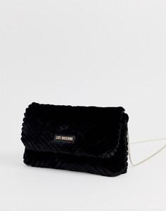 Стеганая сумка из искусственного меха Love Moschino-Черный