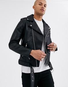 Черная байкерская куртка из искусственной замши Bershka-Черный