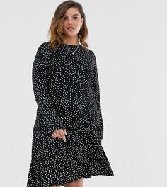 Платье в горошек с длинными рукавами Wednesdays Girl Curve-Черный
