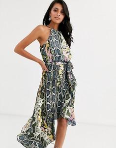 Платье со змеиным принтом и запахом Forever U Collection-Мульти