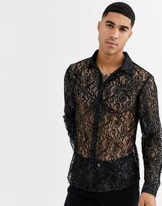Черная кружевная рубашка приталенного кроя Aray-Черный
