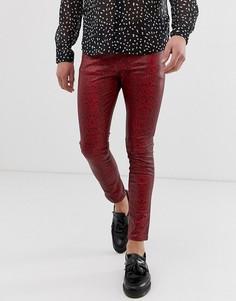 Красные супероблегающие джинсы из искусственной кожи с покрытием и змеиным принтом ASOS DESIGN-Красный
