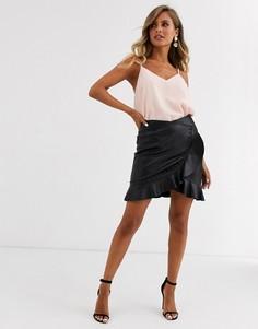 Черная юбка с оборкой Morgan-Черный