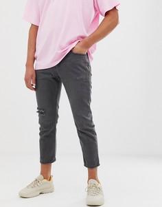 Черные укороченные прямые джинсы с рваной отделкой Religion-Черный