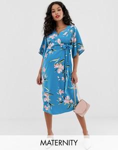Платье миди для беременных с запахом и цветочным принтом Mamalicious-Синий Mama.Licious