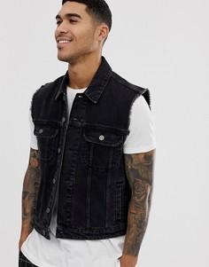 Черная джинсовая куртка без рукавов ASOS DESIGN-Черный