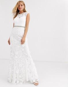 Платье макси цвета слоновой кости с кружевом Lipsy-Белый