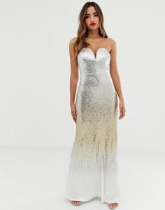 Платье-бандо макси с золотистыми пайетками и эффектом омбре TFNC-Мульти