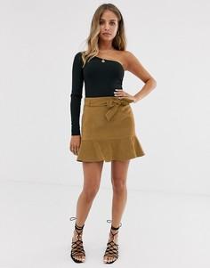 Светло-коричневая юбка из искусственной замши Miss Selfridge-Светло-коричневый