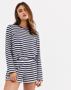 Пижама в бретонскую полоску из футболки с длинными рукавами и шортов ASOS DESIGN-Синий