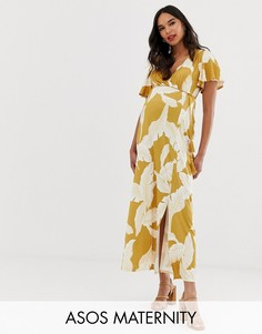 Платье макси с цветочным принтом и расклешенными рукавами ASOS DESIGN Maternity-Мульти