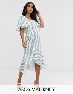 Платье миди в полоску с квадратным вырезом и баской ASOS DESIGN maternity-Мульти