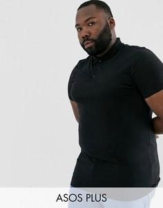 Удлиненная трикотажная футболка-поло черного цвета ASOS DESIGN Plus-Черный