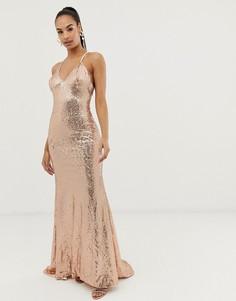 Платье макси с пайетками, перекрестом на спине и юбкой годе Club L-Розовый