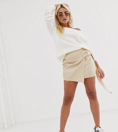 Светло-бежевая мини-юбка с запахом Missguided Petite-Бежевый