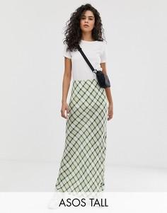 Клетчатая юбка макси с разрезом ASOS DESIGN Tall-Мульти
