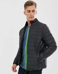 Черная дутая куртка Threadbare-Черный