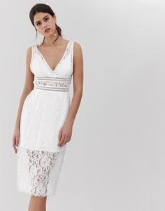 Белое кружевное платье миди с V-образным вырезом Y.A.S-Белый