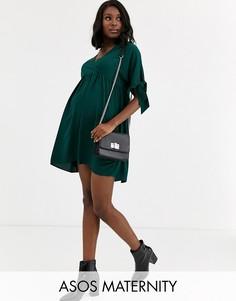 Свободное платье мини с запахом и завязками на рукавах ASOS DESIGN Maternity-Зеленый