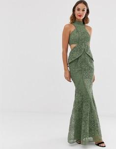 Кружевное платье макси с высоким воротом и годе ASOS DESIGN-Мульти
