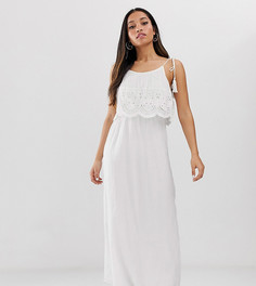 Белое платье макси с вышивкой ришелье Brave Soul Petite-Белый