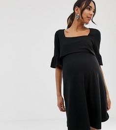 Короткое приталенное платье ASOS DESIGN Maternity-Черный
