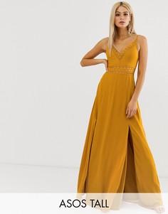 Платье макси с кружевом на талии ASOS DESIGN Tall-Желтый