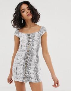 Платье мини с квадратным вырезом и принтом под кожу змеи FAE-Серый