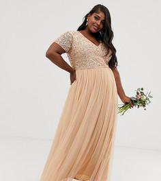 Платье макси персикового цвета с V-образным вырезом и отделкой пайетками Maya Plus Bridesmaid-Розовый