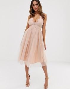 Нежно-розовое платье на бретелях с юбкой из тюля Rare London-Розовый