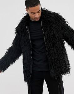 Черная фестивальная куртка из искусственного меха в монгольском стиле ASOS DESIGN-Черный